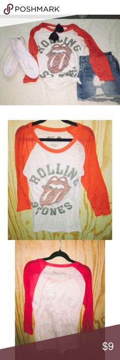 Rolling Stones T-Shirt Rolling Stones Quarter Length Shirt with Red Sleeves. In good, gently worn, preloved condition! 📌Brand added for exposure📌 Urban Outfitters Tops Tees - Short Sleeve