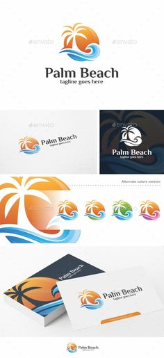 Palm Beach - Logo Template by putra_purwanto Palm Beach  Logo Template100% Re-sizable vector 100% Editable text Easily customizable colors AI