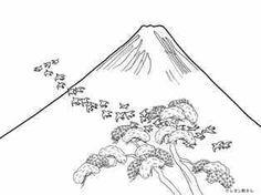 富士山と飛ぶ鳥の塗り絵の下絵、画像