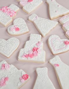 Wedding and Bridal shower Decorated Sugar Cookies using Rolled fondant and texture mats.