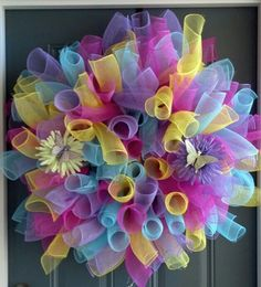Spring curly mesh wreath