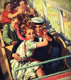 WWII shore leave fun on the rollercoaster!! ...ca. 1940s.