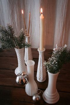 Styling Your House With Milk Vases repurposing milk glasses Goodwill Industries International Farmhouse Table Centerpieces, Wedding Table Centerpieces, Christmas Home, Vintage Christmas, Chandeliers, Glass Christmas Decorations, Milk Glass Vase, Glass Pitchers, Glass Collection
