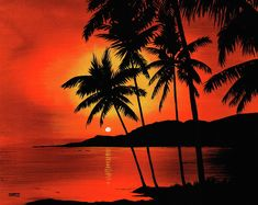 Hawaiian Sunset Painting by Marvin Blatt