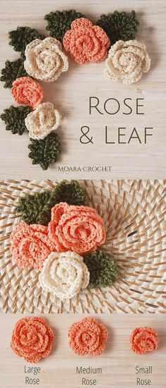 Crochet Leaf Free Pattern, Crochet Applique Patterns Free, Crochet Flower Tutorial, Crochet Leaves, Easy Crochet Flower, Free Crochet Flower Patterns, Crochet Roses, Crocheted Flowers, Crochet Wreath