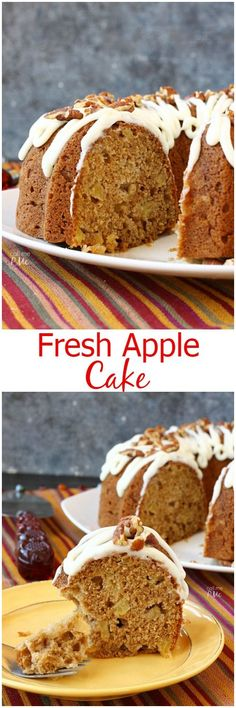 Moist, tender and full of warm fall spices, this Fresh Apple Cake is a delicious classic. To take it over the top, I smothered it with my all-time favorite cream cheese glaze.