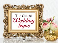 These signs are so adorable! Everything from ring bearer or flower girl signs to food and reception signs! Super creative, funny and sweet ideas. Check out the blog! | wedding signage | ideas | planning | frames | wooden signs | chalk board signs | www.templesquare.com/weddings/blog