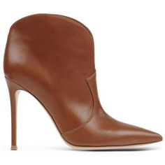 Gianvito Rossi Western-Detailed Leather Bootie (34.955 RUB) ❤ liked on Polyvore featuring shoes, boots, ankle booties, booties, обувь, brown, pointed toe boots, pointy toe bootie, leather ankle boots and brown cowgirl boots
