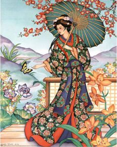 Asian Lady with Parasol Art Print Poster Mini Poster