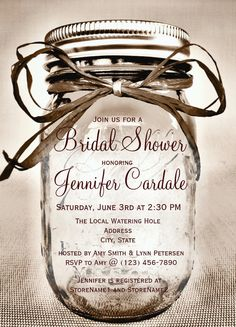 Country Mason Jar Rustic Bridal Shower Invitations.  These unique mason jar bridal invitations are perfect for a rustic country themed bridal shower.  #bridalshower #countrywedding #wedding