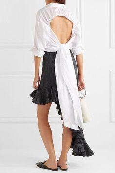 TOME - Open-back Organic Cotton Shirt - White - US