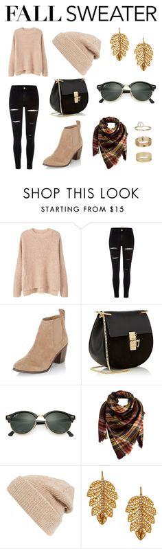 """Fall Fashion"" by jocokorley ❤ liked on Polyvore featuring MANGO, River Island, New Look, Chloé, Ray-Ban, Peach Couture, Hinge, Marika and Miss Selfridge"