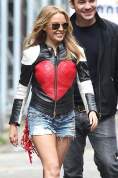 Kylie Minogue Leather Jacket - Kylie Minogue wears her heart on her chest in this quirky leather jacket.