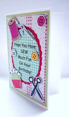 Birthday Card  Sewing  Needlework Card  by CraftyMushroomCards
