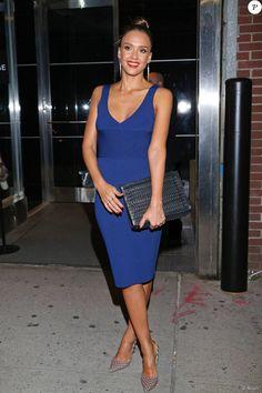 Jessica Alba de retour à l'hôtel Trump SoHo après le défilé Narciso Rodriguez. New York, le 15 septembre 2015.