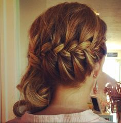 Side French braid with curls. By: Brooke Kenyon