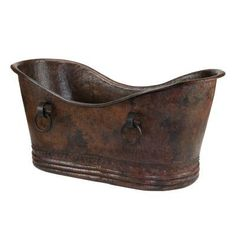 Premier Copper Products 72 in. Hammered Copper Double Slipper Bathtub with Rings - BTDR72DB