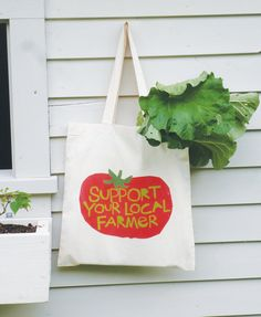 Canvas tote bag Support your local farmer hand drawn typography bright red tomato