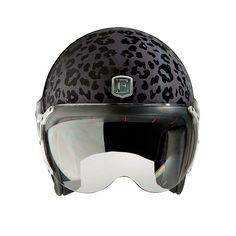 Motorcycle jet helmet leoaprd black Rider by Exklusiv designed in France