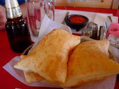 These are REAL sopapillas! NOT those flat crispy things with cinnamon and powder sugar