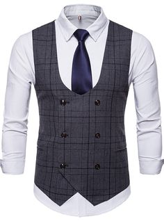 New Brand Men's Business Casual Vest High Quality Men's Clothing Men's Casual Plaid High Quality Double Breasted Vest. Business Fashion, Business Casual Men, Men Casual, Mens Suit Vest, Men's Waistcoat, Mens Suits, Gentleman Mode, Gentleman Style, Western Outfits