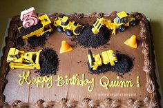 construction cake a chocolate sheet cake from Costco . Construction Birthday Parties, Boy Birthday Parties, 3rd Birthday, Birthday Ideas, Construction Birthday Cakes, Truck Birthday Cakes, Digger Birthday Cake, Digger Party, Birthday Banners