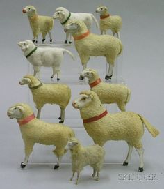 Flock of Ten Fleece-Covered Papier-Mache Sheep