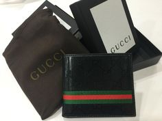 624ec858cac 100% New Men s GG BLACK Wallet Authentic Leather Bifold Wallet Z  fashion   clothing