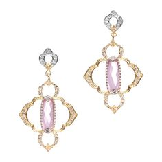 """Love this! Found it on Unlimited Beauty~Jewelry~ UnlmtdBeauty.kitsylane.com The Sonia Earrings are perfection at their finest. A uniquely shaped, faceted pink quartz gemstone is intricately set in gold plate, then surrounded by an open weave gold and Swarovski crystal outline. Sweep back your hair and let these timeless beauties dangle. - Gold plate, pink quartz, swarovski crystals - 2"""" long - Post back closure Item # BLE20001006"""