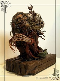 Leather Swamp Witch Sculpture. OOAK. by MedusaWood on Etsy, $180.00