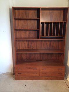 vintage mid century modern 4 drawer bookcase display television cabinet shelves