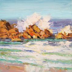 BIDS START AT $49, TOM BROWN - OCEAN, SURF, SEASCAPE, CALIFORNIA PLEIN AIR, painting by artist Tom Brown
