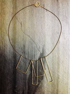 Geometric Necklace Gold Hammered Art Deco by LoopHandmadeJewelry