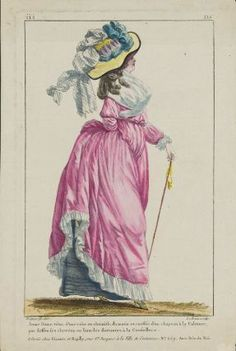 """""""Jeune Dame vêtue d'une robe en chemise, du matin at coeffée d'un chapeau à la Calonne, par dessus ses cheveux, en boucles flottantes à la Conseillere"""", Gallerie des Modes, 1787; MFA 44.1669"""