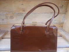 Vintage Tan Faux Leather Compact Handbag Bag Two Handles Covered Frame Style Love Me Again Said The Pinterest 1960s And Purse