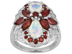 Ethiopian Opal, Vermelho Garnet (Tm) And White Diamond, 3.39ctw Sterling Silver Ring