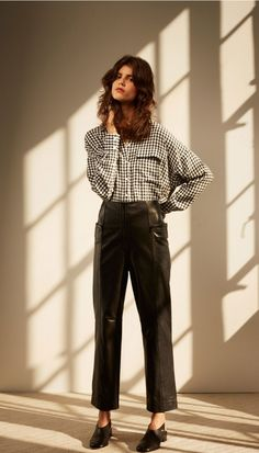 Cut for an oversized fit, this gingham-printed button-down shirt is an easy choice for casual outings. Tuck it into culottes for added chic, or leave it untucked over slim pants. Front button closure. Unlined. 54% Viscose, 46% Acetate. Professional Dry Clean Only. Style Number: TP216GIN74266 Available in: Navy Gingham