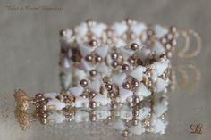 Bracelet blanc et or Khéops® de Puca et Cristal Swarovski gold : Bracelet par lilyperle