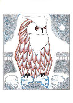 Owl on skulls