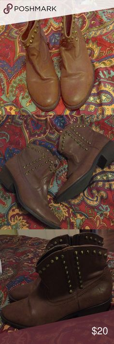 Studded brown ankle cowboy boots Studded brown ankle cowboy boots- size 9 1/2- worn twice Mossimo Supply Co. Shoes Ankle Boots & Booties