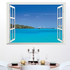 Ocean Sea Boat Wall Sticker 3D Window View Home Decor Living Room Bedroom Landscape Mural Wall Art Decal Poster