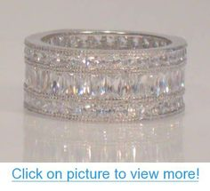 Cool  Ct Princess and Baguette Cut Channel Set Vintage Style Wide Wedding Band Eternity Ring