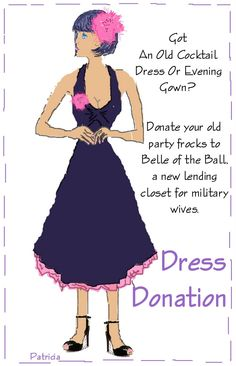 "Artwork I did for article ""Donating Party Flocks For Enlisted Spouses Club""  http://journalpourlabellefemme.blogspot.com/2008/11/donating-party-frocks-for-enlisted.html"