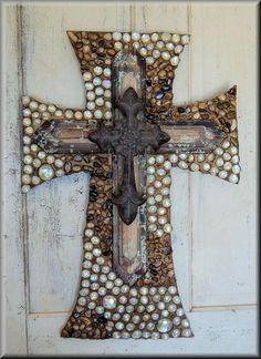 I really like this one!  Wall cross, cross, decorative wall cross, religious cross. $79.95, via Etsy.