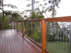 Hardwood Deck and Balustrade with Steel Cables (Patio Step Handrail)