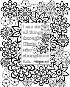 Flower coloring pages Bible verse coloring sheets. Set of 5 Instant printable…