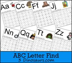 FREE ABC Letter Find Printable - 3Dinosaurs.com