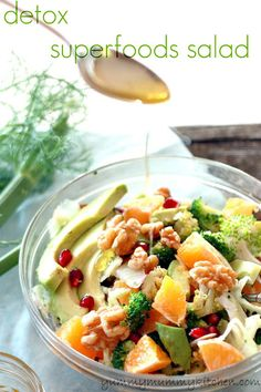 Detox Superfoods Salad ✩ 1 small bunch broccoli (raw or quickly blanched), 3 peeled separated tangerines (2 for the salad, 1 for dressing, 1 seeded pomegranate, ¼ cup shaved or thinly sliced fennel, 1 sliced avocado, ¼ cup walnut pieces, extra virgin olive oil