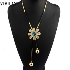 VIVILADY Fashion Metal Chain Flower Long Chain Tassels Necklaces Women Crystals Rhinestones OL Bohemian Costumes Jewelry Bijoux