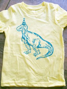 Dinosaur Birthday Hat Toddler Kids Tee - The Coin Laundry